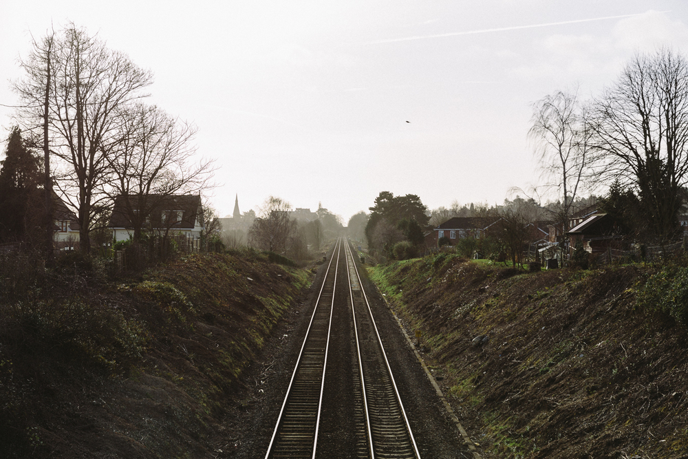 Looking down the railway line towards Great Malvern