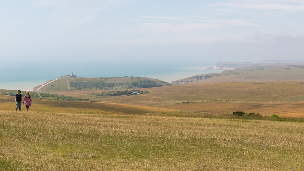 Belle Tout Lighthouse, the Birling Gap, Seaford and the chalk cliffs of Seven Sisters in the distance