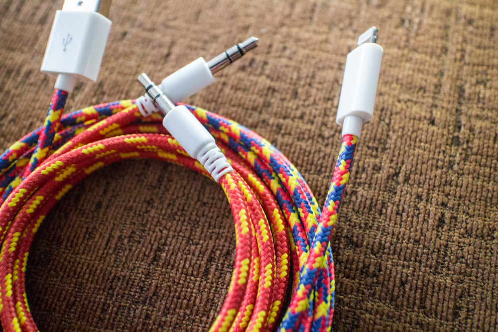 """Confetti"" Lightning cable and ""Ronald"" auxiliary audio cable for 3.5mm audio jack"