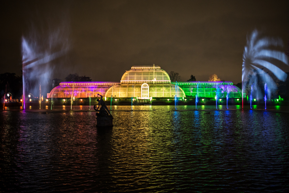 The Palm House of Kew, illuminated in colour for a sound, light and fountain display