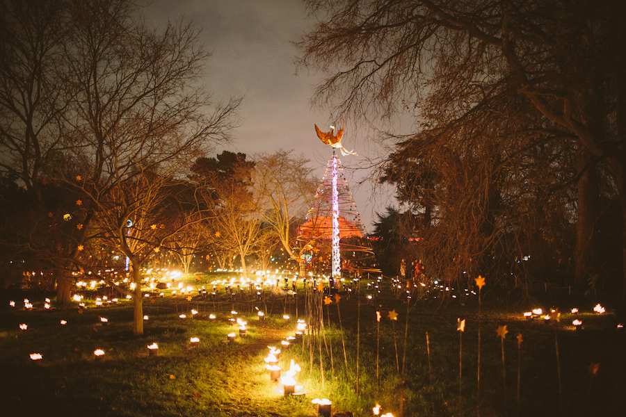 The phoenix-topped Christmas tree in the  Fire Garden
