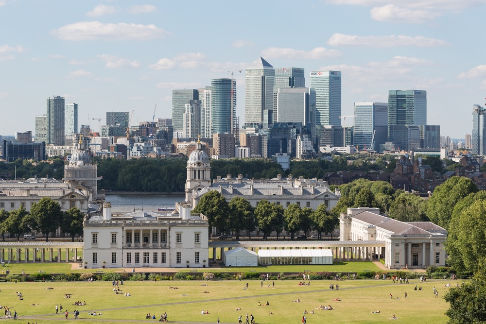 The Queen's House and the Old Royal Naval College, with the Isle of Dogs in the background
