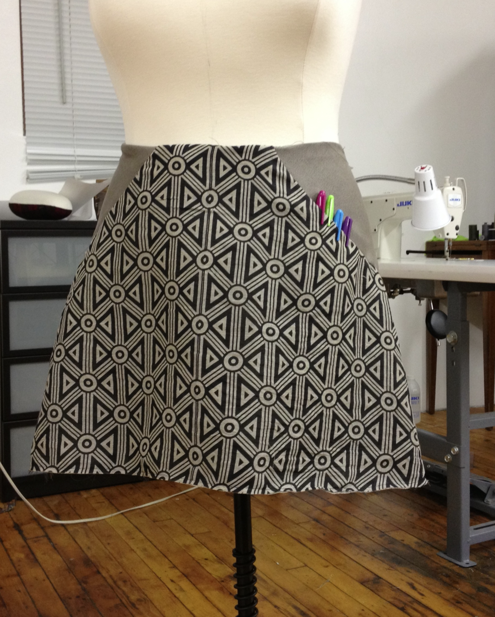 """Bowtie Skirt"" in process, no waistband facings or hem yet, but its got pockets, and thats what counts."