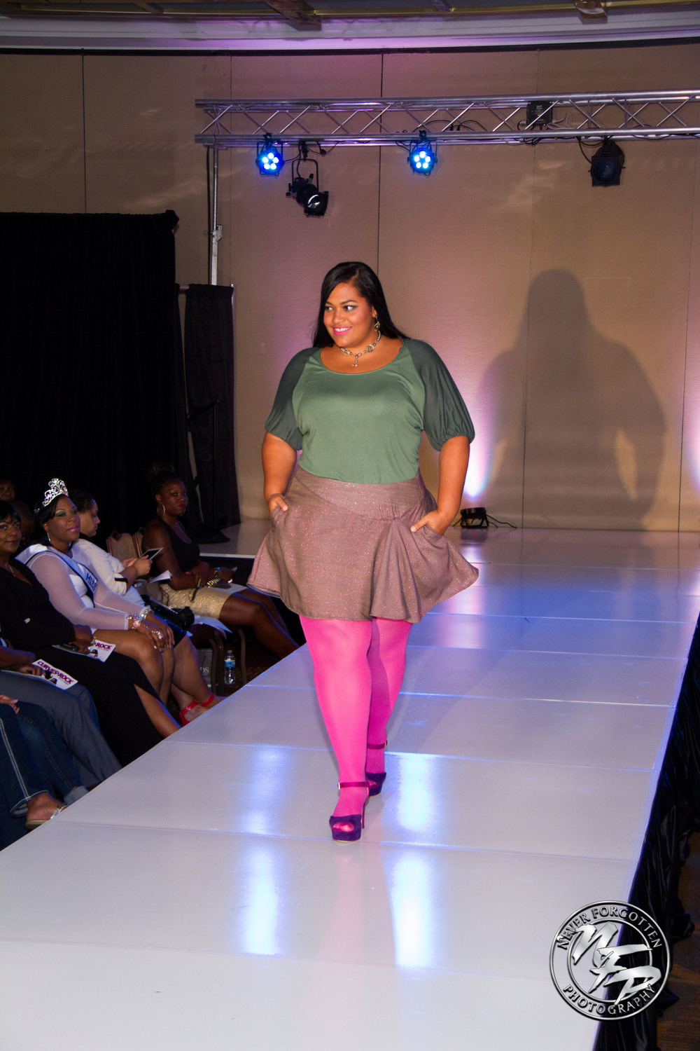 Take Wing Tee in colorblock and Dip to the Left Skirt in sparkle on Vanessa Mays