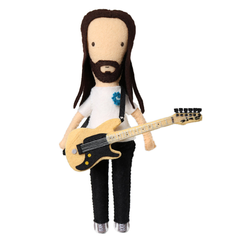 Felt Ibanez Guitar and Moo Doll Portrait