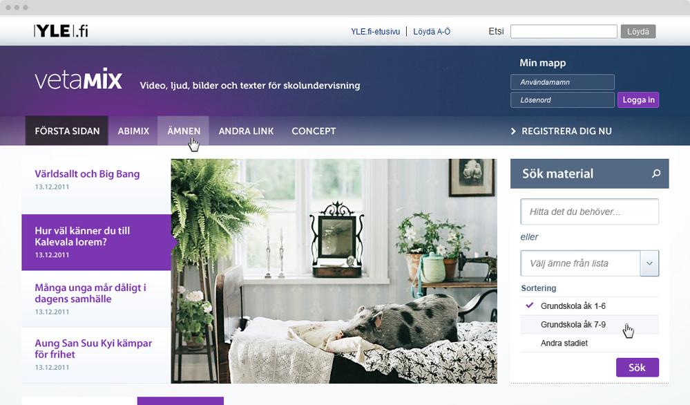 Yle Vetamix  / visuaalinen suunnittelu, rakennesuunnittelu