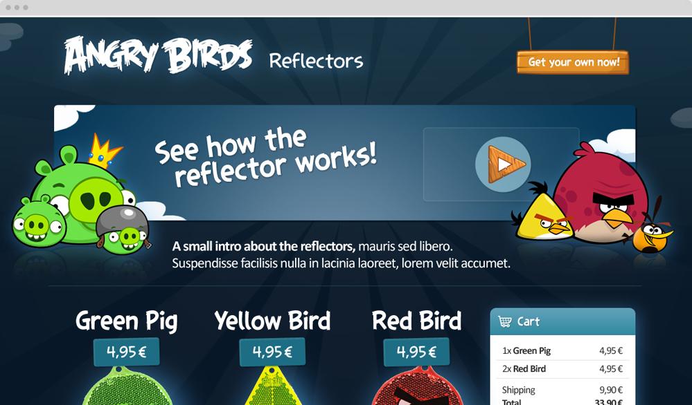 Angry Birds -verkkokauppa / visuaalinen suunnittelu, käyttöliittymäsuunnittelu