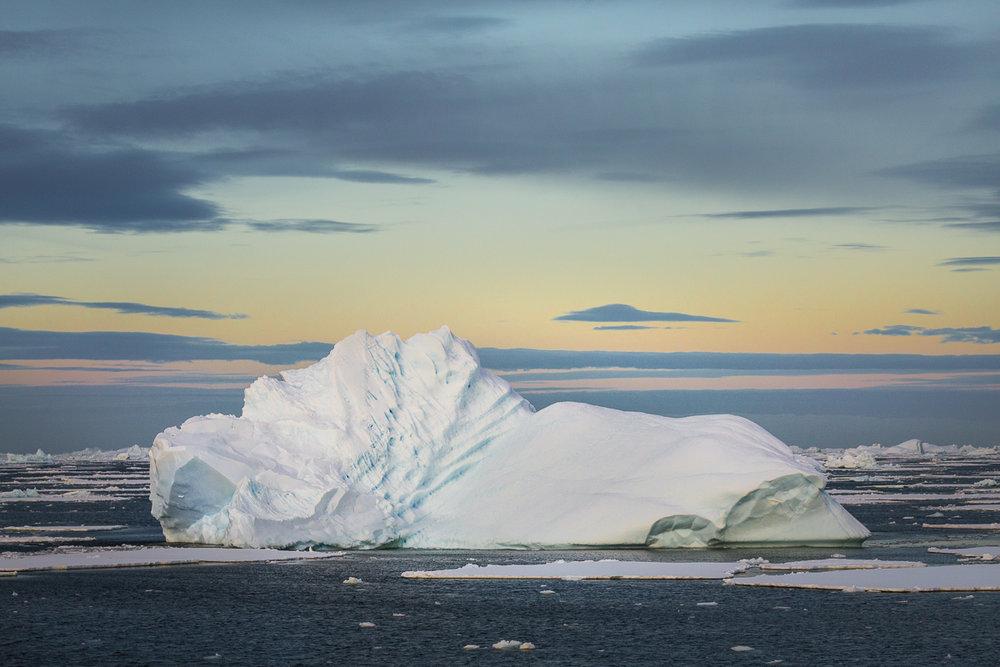 antarctica-glacier-dusk