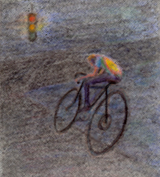 Well past dusk, hot summer night; cyclist smooth, fast, taking smart risks through yellow-red lights. 1970s ten-speed, 1970s tie-dye - neither out-dated that night, he made them in style with flight.