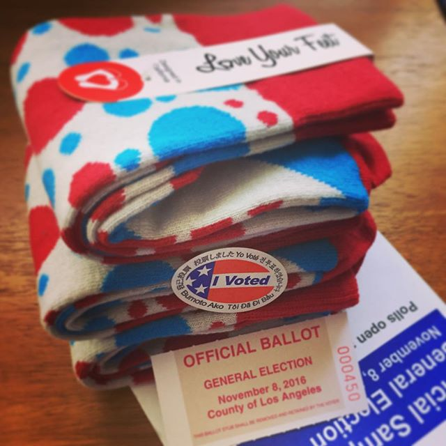 Well, did you?? #vote #Ivoted #USA #LoveYourFeet #socks #LYFsocks #redwhiteandblue