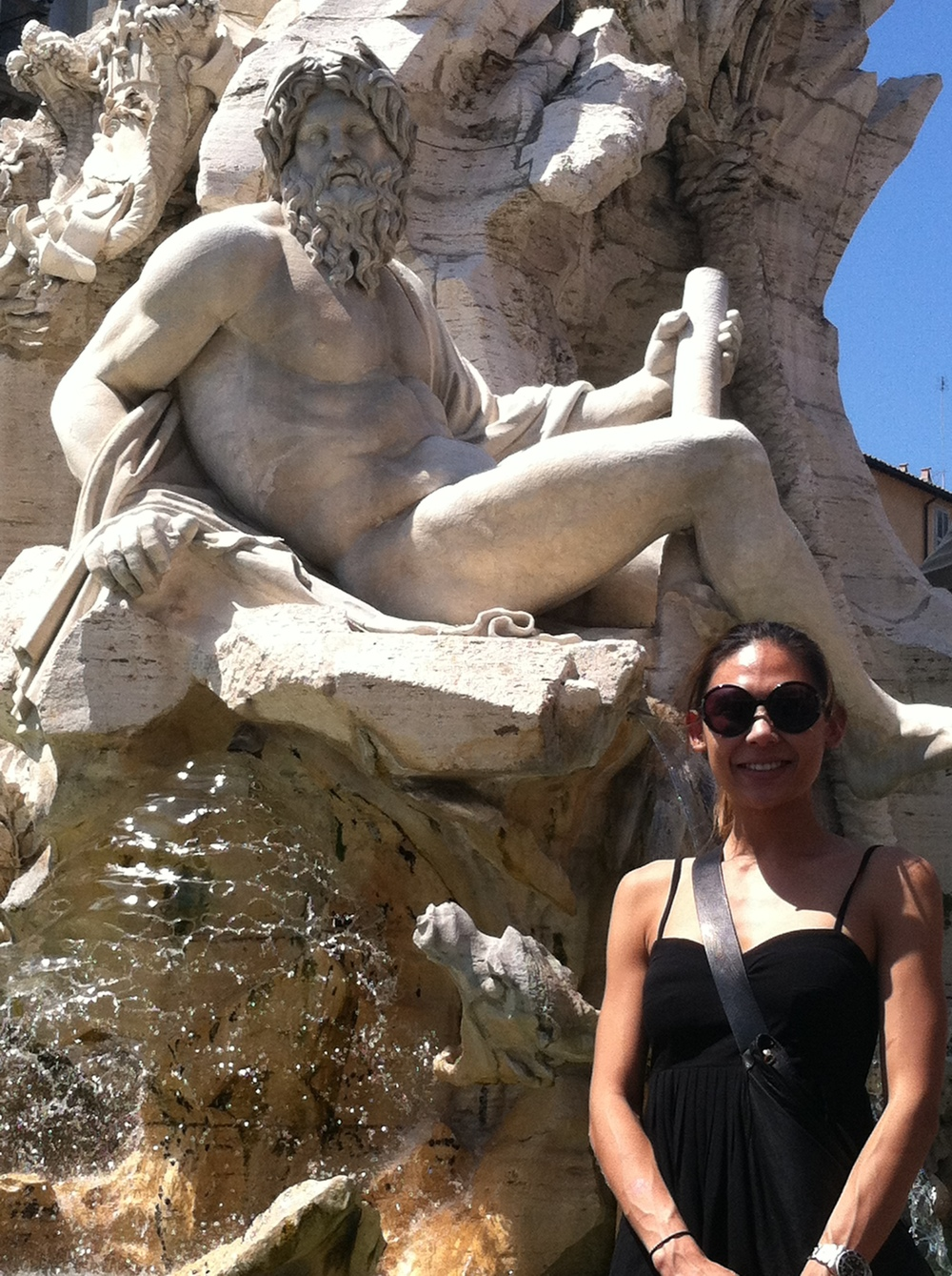Go Go at Neptune's Fountain in Piazza Navona in Rome