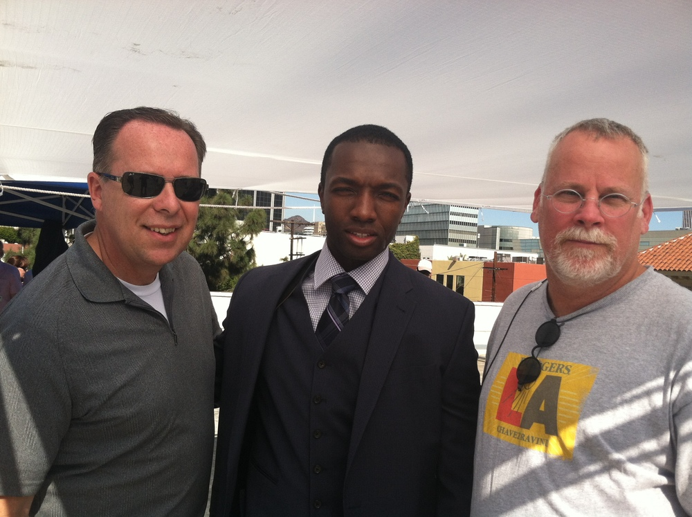 "Classic combination  Detective Tim Marcia actor Jamie Hector and writer Michael Connelly on the set of ""Bosch"""