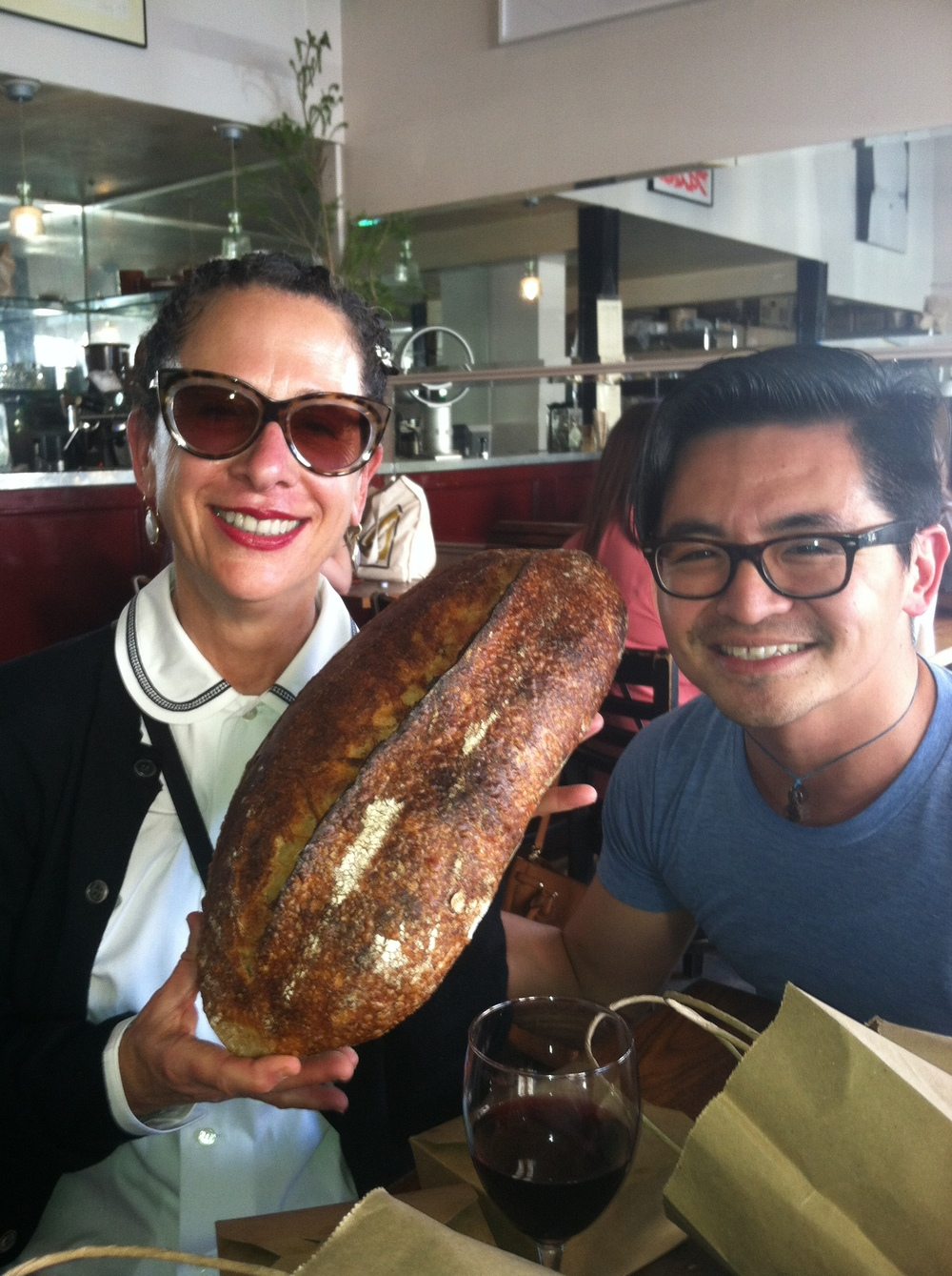 Nancy and Vinny Eng with the Country loaf. Sesame was gone.