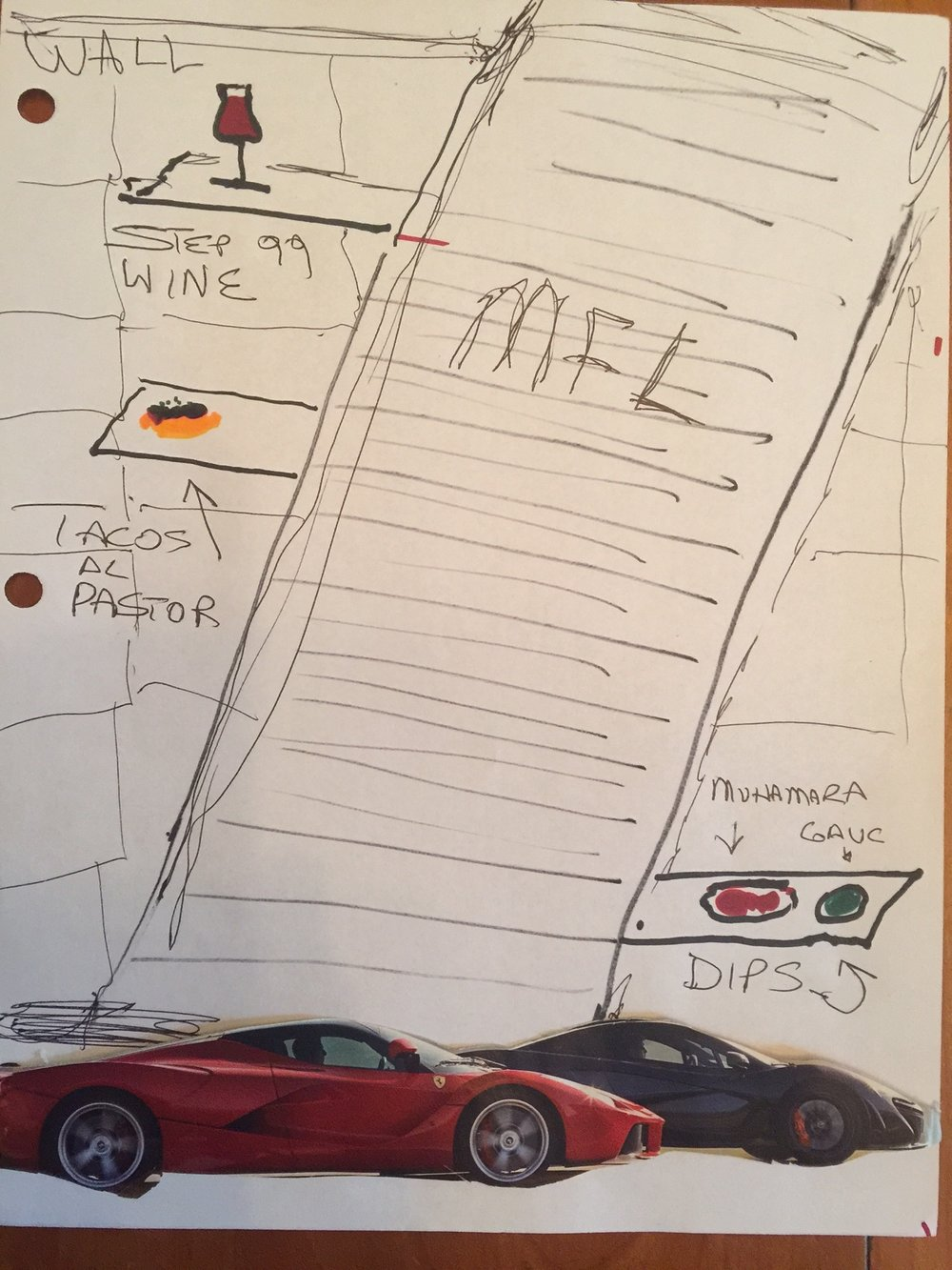 artist Mike rembrandt's rendition of Nancy Silverton's Moveable feast ladder.  (LaFerrarri and P1 mclaren drawn to scale)