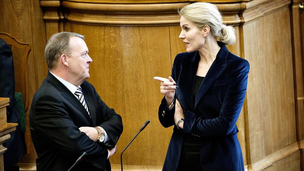 Former Denmark prime minister halle Thoring-schmidt making a point with current prime minister lars lakke rasmussen
