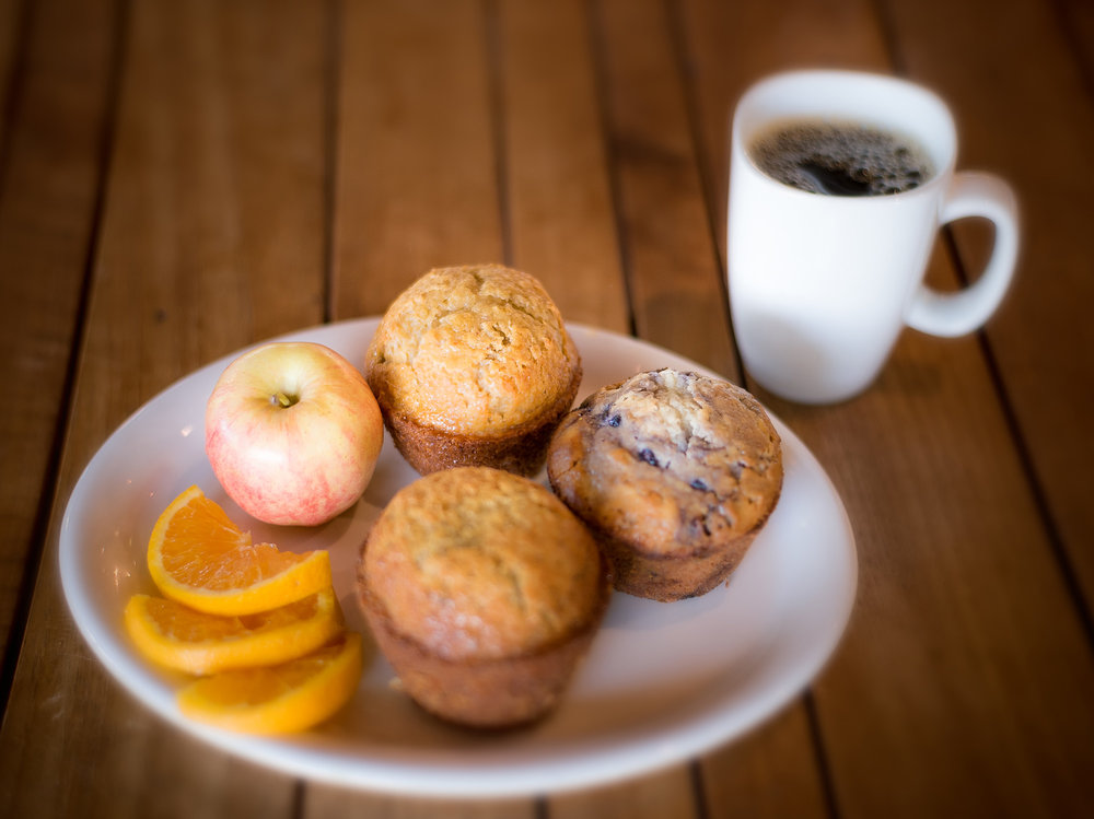 Blueberry muffin, lemon poppy seed muffin and walnut harvest muffin