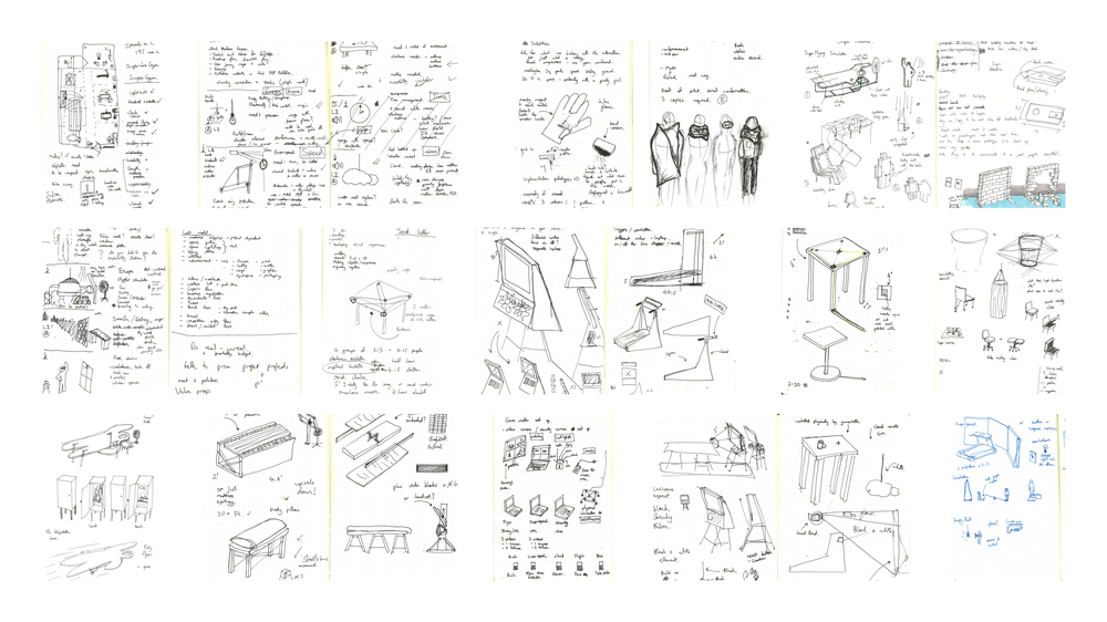 Sketches show design iterations for Super by Richard Clarkson