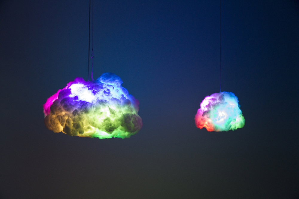 Size comparison between Smart Cloud vs. Tiny Cloud - both in Rainbow Lamp Mode.