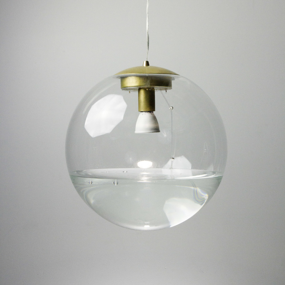 "16"" Clear Rain Lamp - Brass"