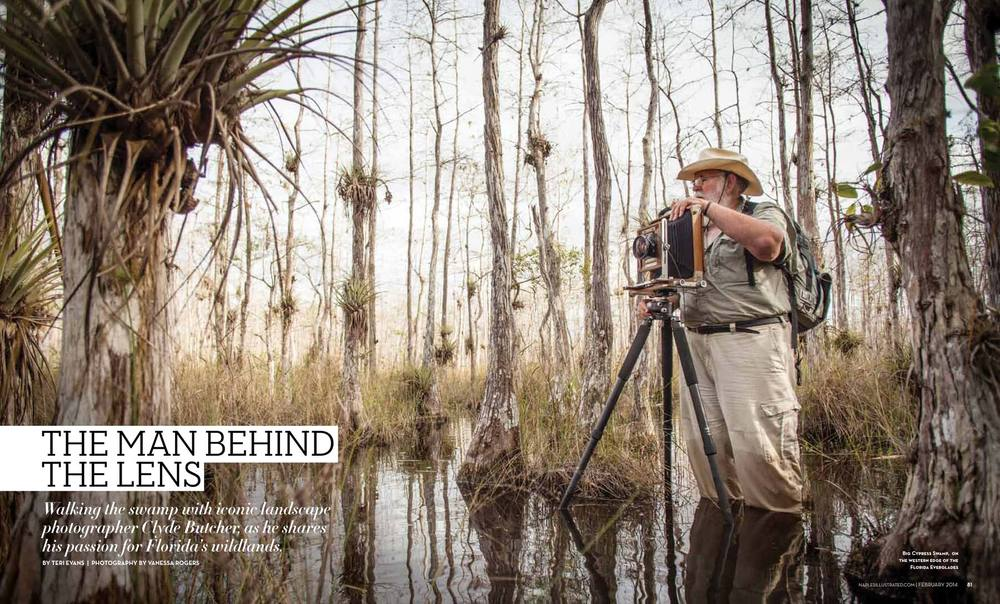 Clyde Butcher Preparing his camera in the Corkscrew Swamp Sanctuary, Everglades, Florida. 2013