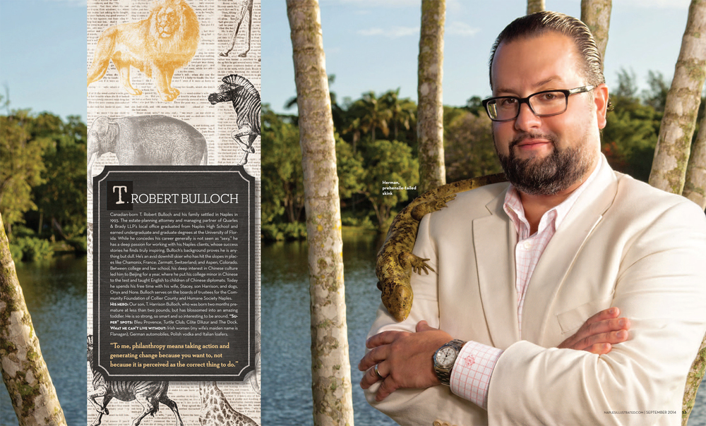 T. Robert Bullock from Quarles & Brady LLP Naples with Herman the prehensile tailed skink at the Naples Zoo Copyright Vanessa Rogers Photography 2014