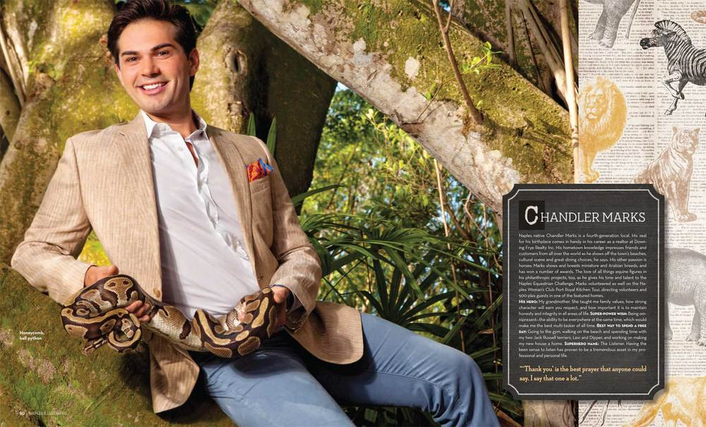 Chandler Marks of Downing Frye Realty of Naples with Honeycomb Ball Python at the Naples Zoo Copyright Vanessa Rogers Photography 2014