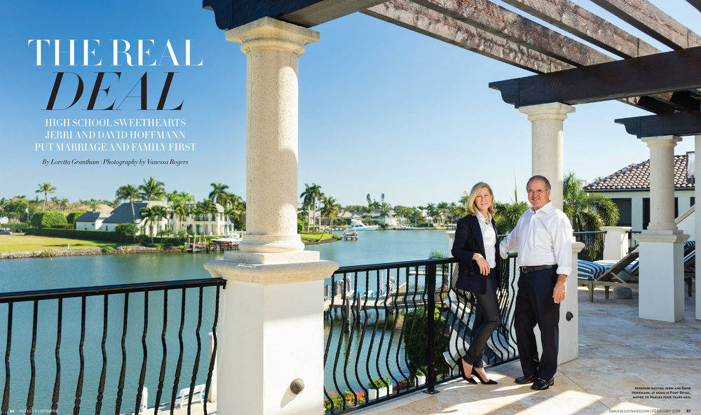 Jerri and David Hoffman shot on location at their home in Port Royal, Naples. Art Direction by Loretta Grantham. Hair and makeup by Philip Douglas & Co.