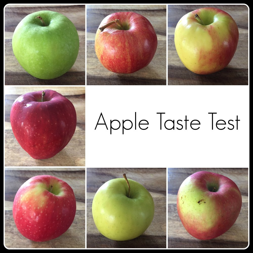 Top, left to right: Granny Smith, Royal Gala, Ambrosia Middle: Red Delicious Bottom, left to right: Pink Lady, Golden Delicious, Fuji