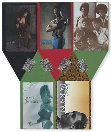 Pruitt-Early, Jackson Five (from Red Black Green Red White Blue), 1992, mixed media 59x26 in.