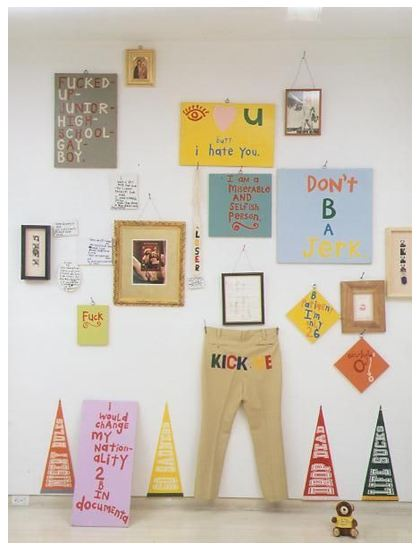 Cary Leibowitz, No Peeking (Installation) 1988-1991, mixed media, 105x100 in.