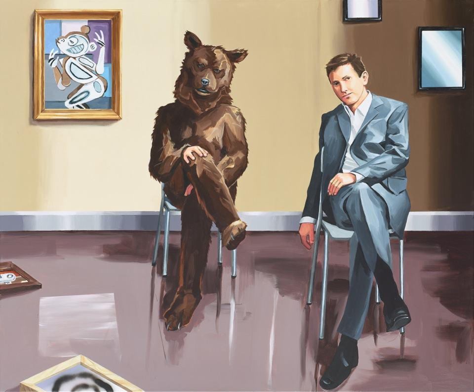 CHRISTOPHER WINTER (b. 1968)   Time Dimensionality (and the 1911 Cubist Monkey)  2014 Acrylic on canvas 150 x 180 cm