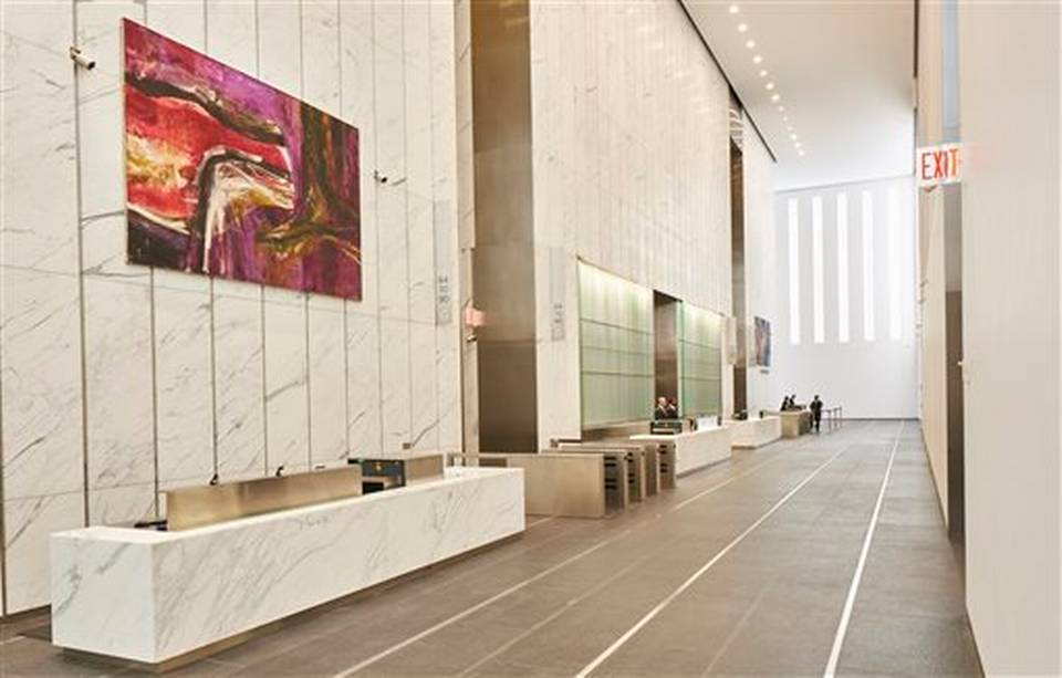 "This Nov. 2014 photo provided by Edelman Arts shows a painting by Fritz Bultman, ""Gravity of Nightfall,"" in the north lobby of the new 1 World Trade Center building in New York. The painting is among 13 public artworks by five artists selected or commissioned for the historic 104-story skyscraper which opened to great fanfare in November. (AP Photo/Edelman Arts, Michael Mundy)"