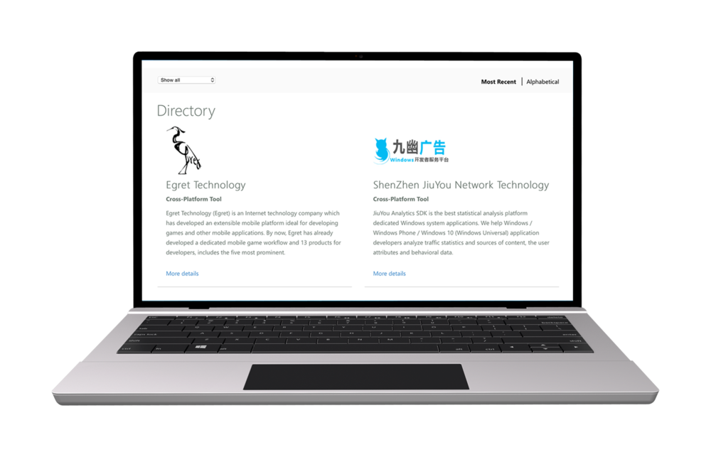 Dev Center Partner Directory  CD: Adam Fisher  UX: Marc Perez  As the UI/Visual Designer on this project, I created visual designs that highlighted a hero partner, featured partners, and a filter friendly all-up partner grid.   Visit site
