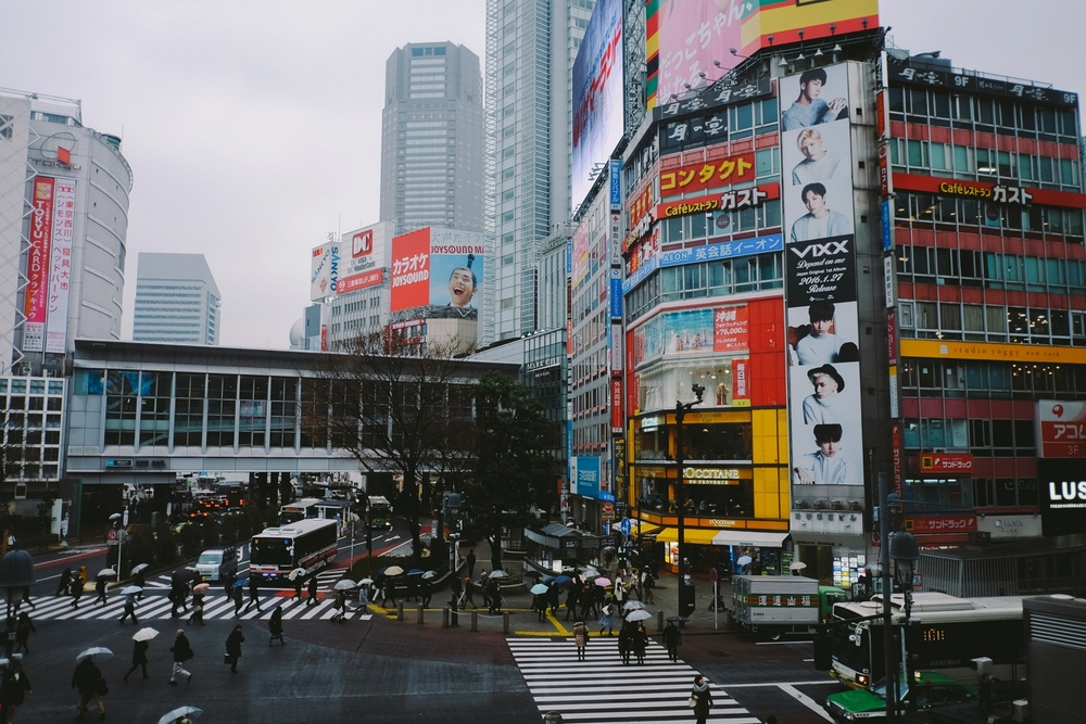Shibuya Crossing as seen from Starbucks (girl needs her coffee) on our rainy first day.