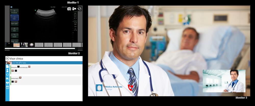 Interfaz Diagnóstico (2 monitores y 1 monitor para Telepresencia)