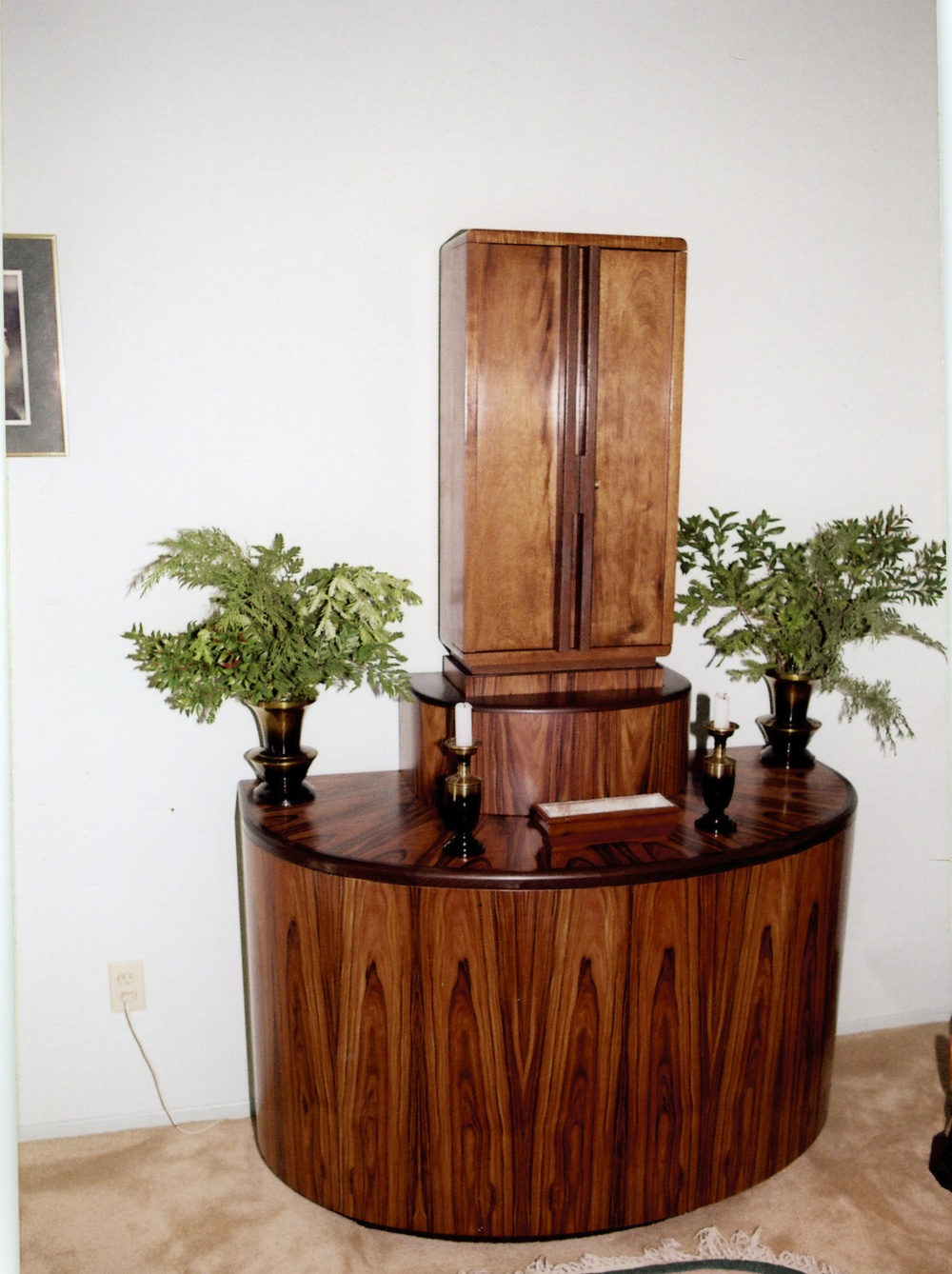 Home altar, koa veneers with wenge trim. Clients participated in the design.