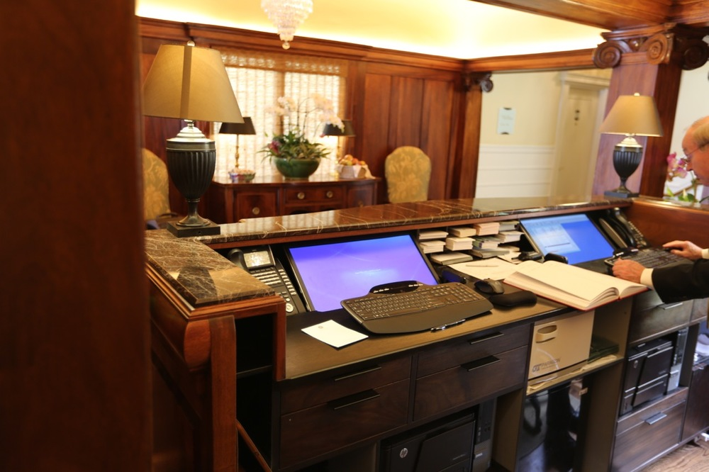 The business end of the desk was engineered by Geoff's Woodworking in collaboration with the hotel management.