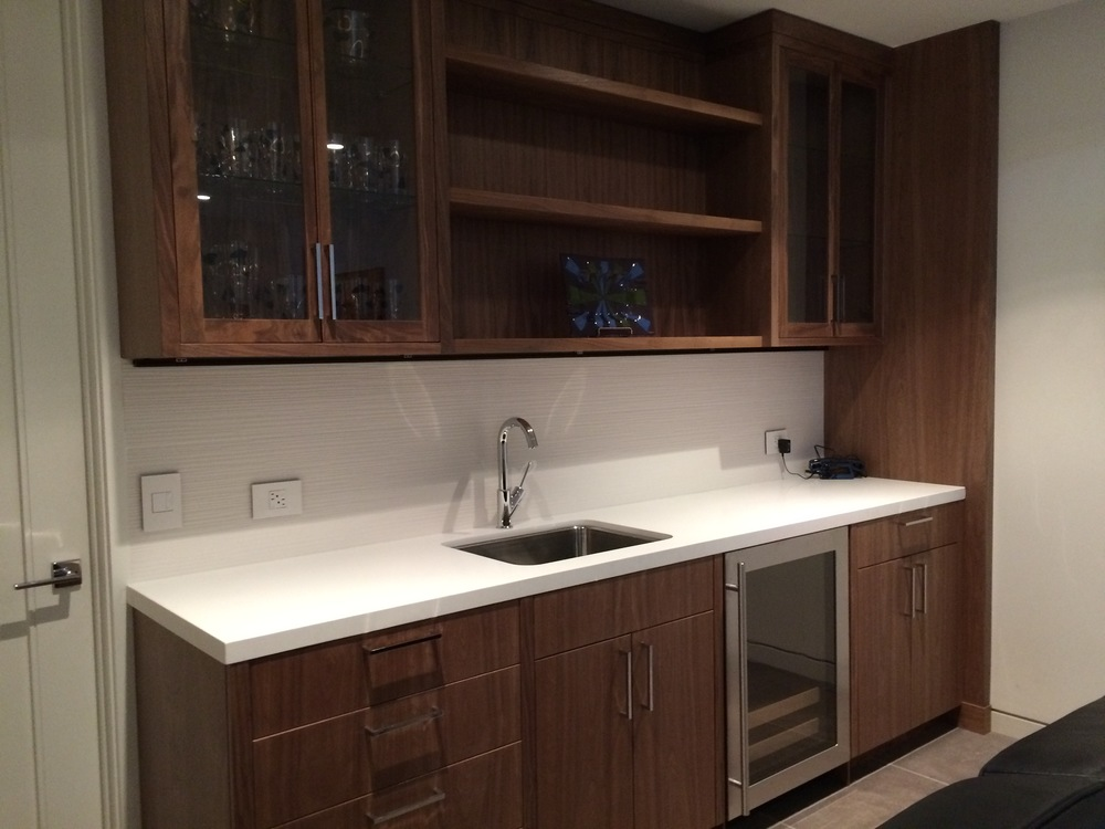 Completed built-in kitchenette in walnut.