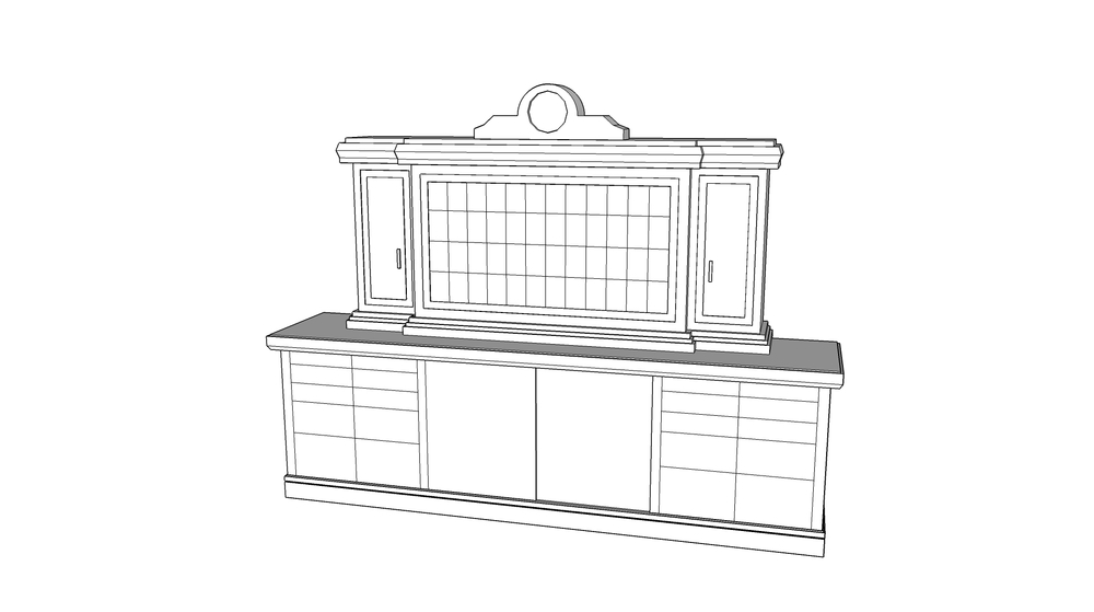Credenza, Key Cubbies and Clock