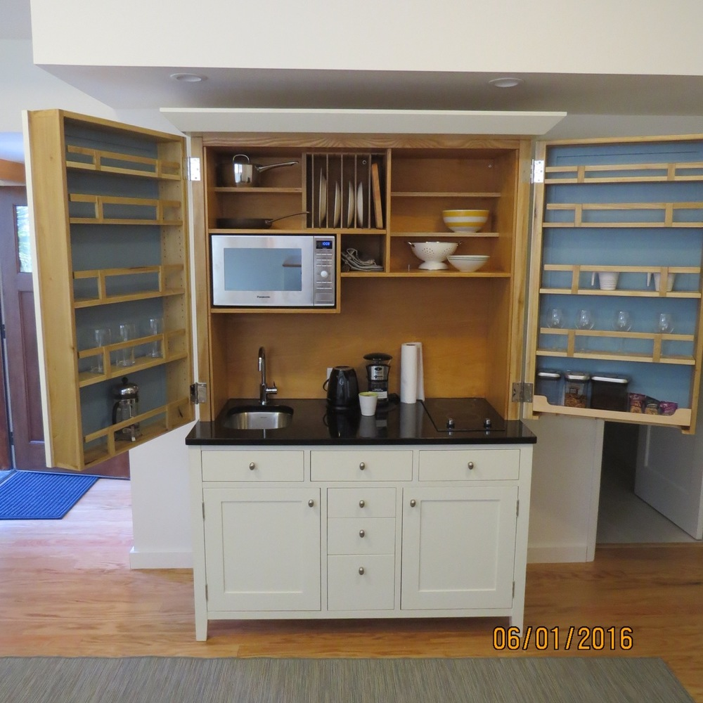 Built-in appliances and storage.