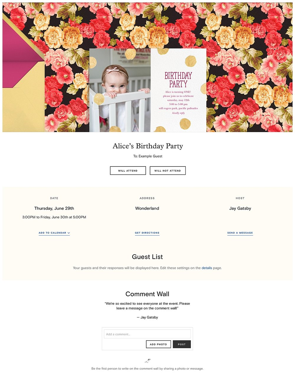 "This is the final page... what your guests will see once they ""open the card"". I love that they can leave comments or ask questions. I also love that everything is in one place - guest list, rsvp list, directions, registry's, and comments. So simple!"
