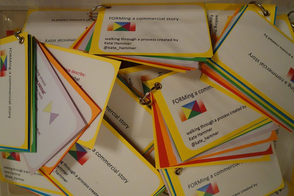 Handmade A7 card swatches give people a guide to FORMing their future-tense story