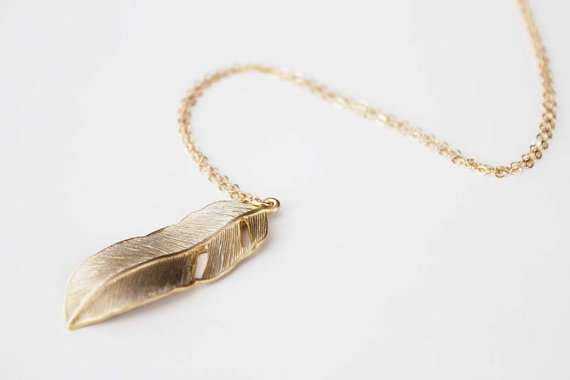 Long Gold Feather Necklace Long Gold Feather Necklace