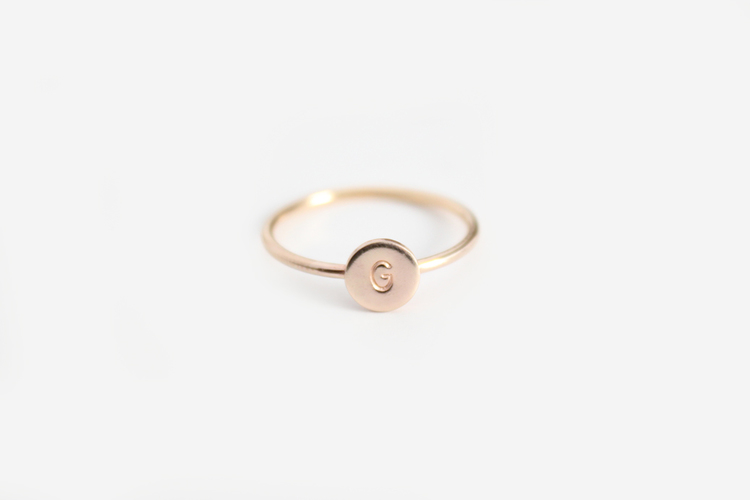 Baby Initial Disc Ring Twist or Smooth Band — Junghwa by Amy Stewart