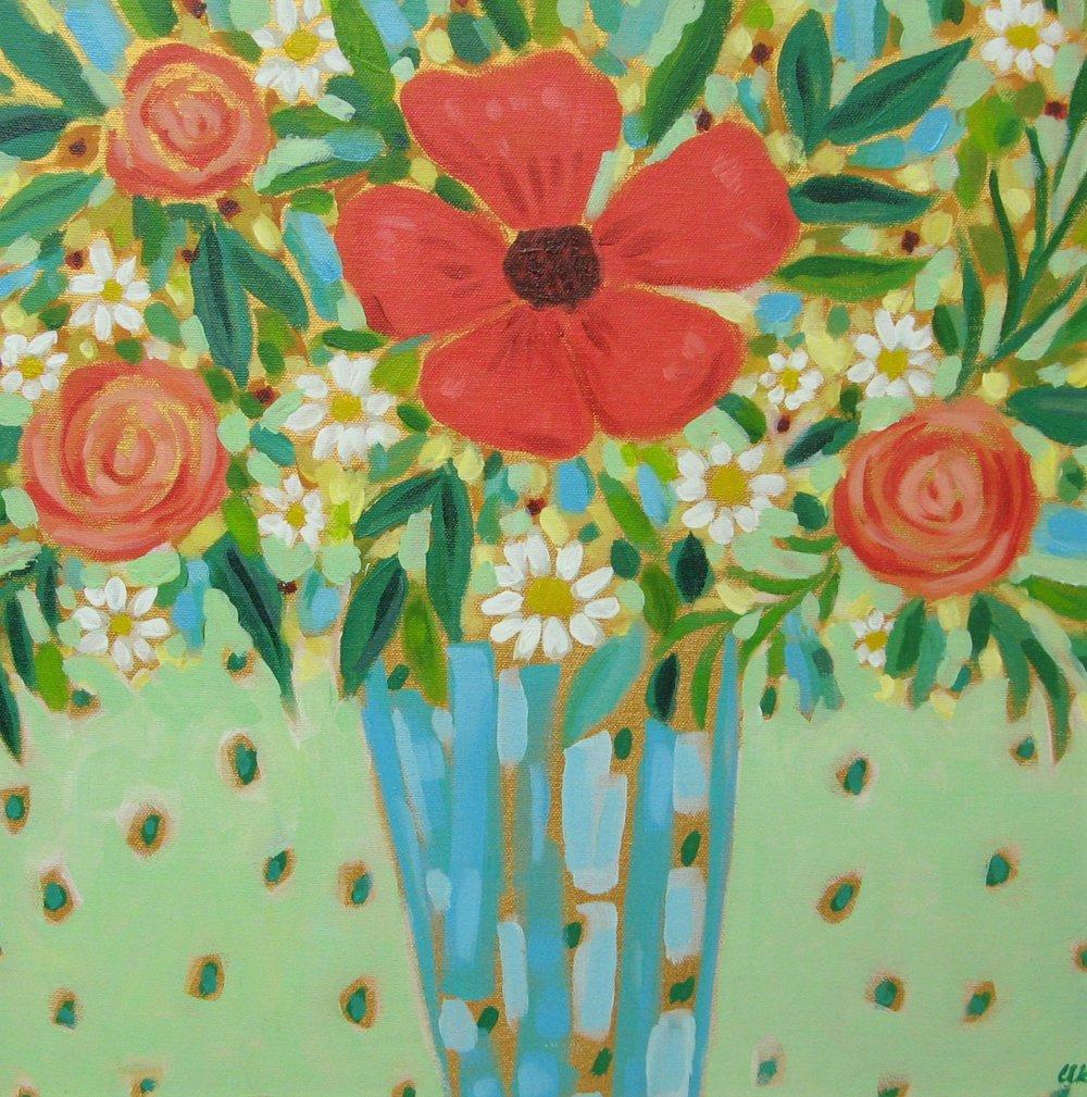 Blue Vase - acrylic on canvas 16x16
