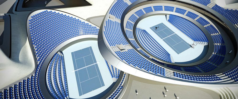 In plan view, the two largest internal tension rings correspond to the two olympic tennis courts below. One of these courts holds the main event, while the other court hosts secondary events.  The third tension ring in the roof marks the main public space located at the entry. One can access both courts as well as other closed practice spaces from the public gathering plaza. The public cafe, located under one of the perimeter shells, has viewstowards this main public space as well as towards building's waterfront extension.