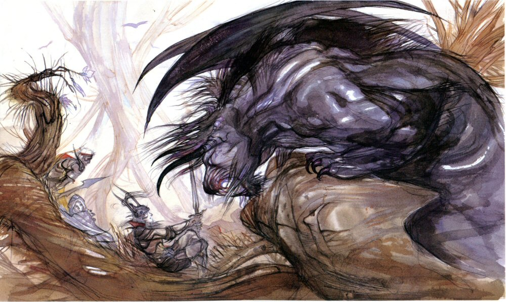 Yoshitaka Amano's depiction of a Behemoth