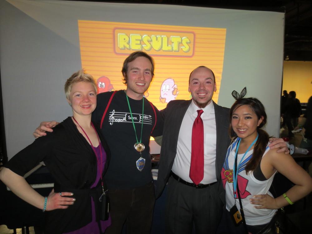 Amanda, me, Stephen, Kat, and Pac-Man fever!
