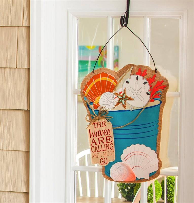 Burlap Sea Shell Bucket Door Decor & Flags u0026 Door Hangings beddingu2014 Florida Linen pezcame.com