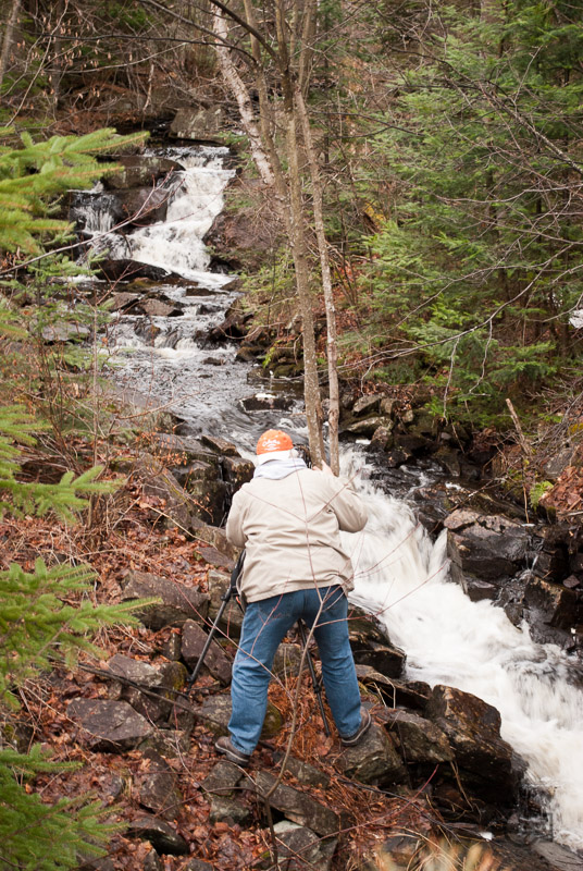 Brian shooting the spring thaw, Algonquin Park